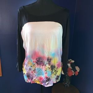 NWT Cable & Gauge T-shirt blouse watercolor XL